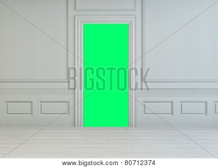 3D Rendering of Fluorescent green interior door in a classic white wooden paneled room with white painted parquet floor, unfurnished and undecorated for your design background