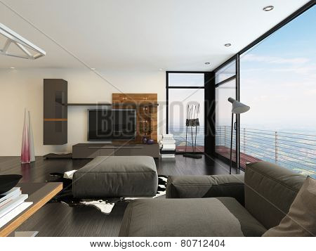 3D Rendering of Upmarket living room interior with a large flat screen TV, brown lounge suite and angled floor-to-ceiling corner window with a patio overlooking countryside