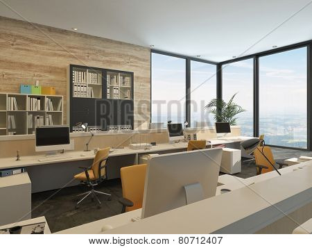3D Rendering of Modern Minimalist Office with Work Stations and Large Windows in high rise Building