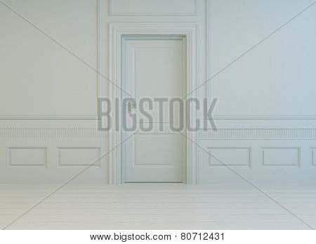 3D Rendering of Classic stylish white paneled room with a closed interior white door and painted parquet floor, monochrome unfurnished architectural background
