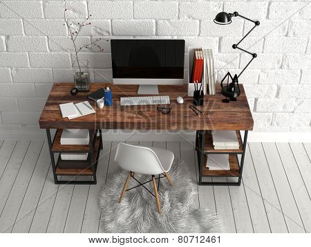 3D Rendering of Aerial View of Architectural Study Area with Computer, Lamp, Vase and Writing Supplies on Top of Wooden Table, Paired with Single Chair on Soft Cloth. Placed Beside White Wall