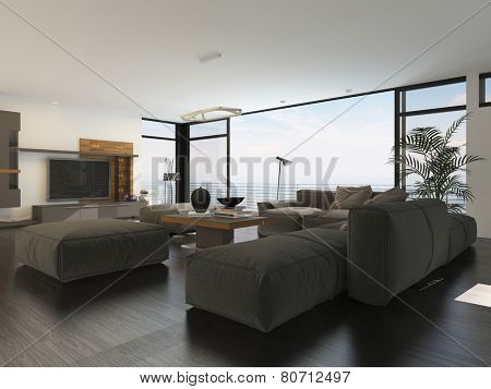 3D Rendering of Modern living room interior with grey and white decor and a large upholstered lounge suite around a flat screen TV in front of panoramic view windows