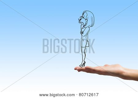 Caricature of businesswoman on white background looking thoughtfully away
