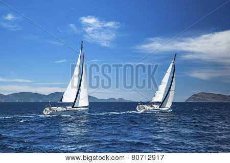 Sailing. Luxury yachts. Boat in sailing regatta.