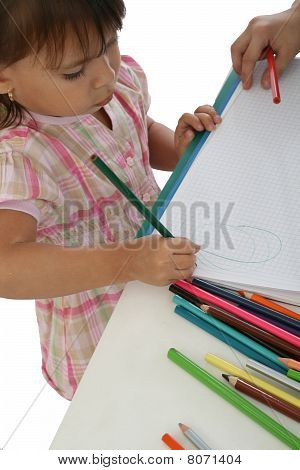Little Girl Write Letters Or Alphabet
