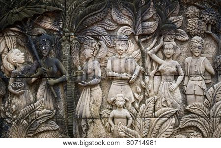 Carving On Sandstone Background