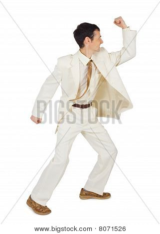 Businessman Beats Isolated On White