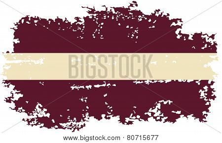 Latvian grunge flag. Vector illustration.