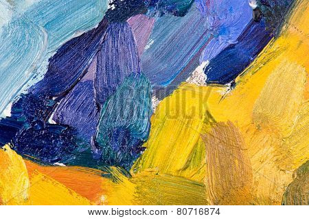 Oil painting abstract brushstrokes on canvas