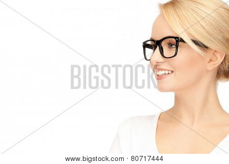 picture of happy and smiling woman in specs