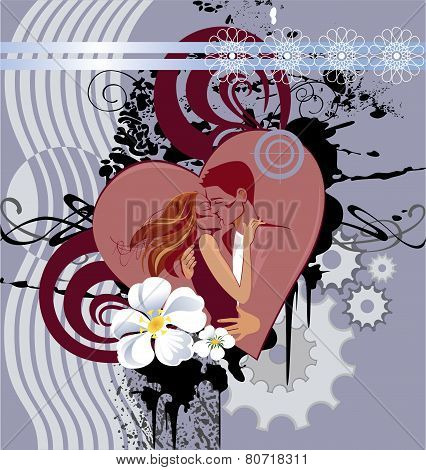 abstract image of the heart and the kissing lovers