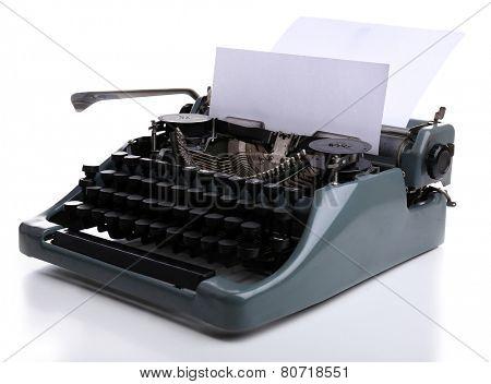 Antique Typewriter. Vintage Typewriter Machine, isolated on white