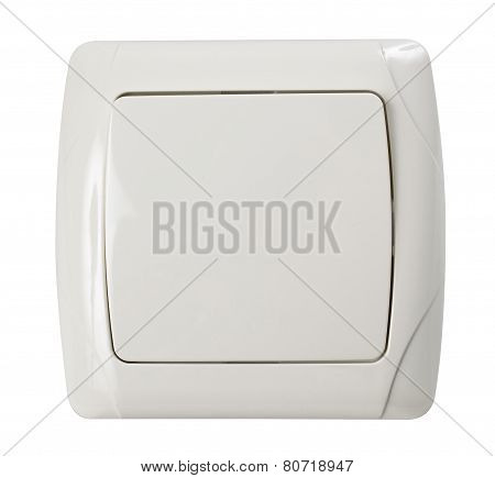 Wall Electric Light Switch In Ivory Color Isolated On White With Clipping Path.