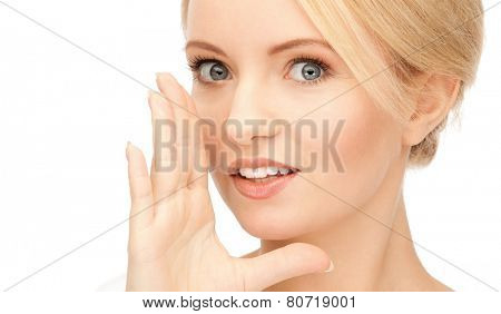 bright picture of woman whispering gossip
