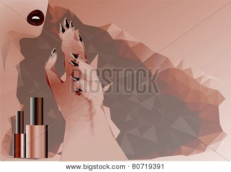 Abstract Woman And Nail Polish