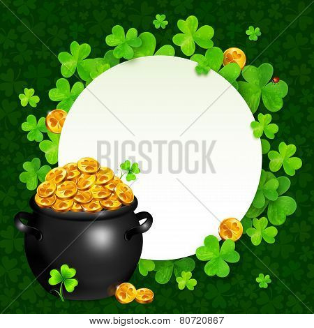 Vector black pot of magic gold on clovers circle