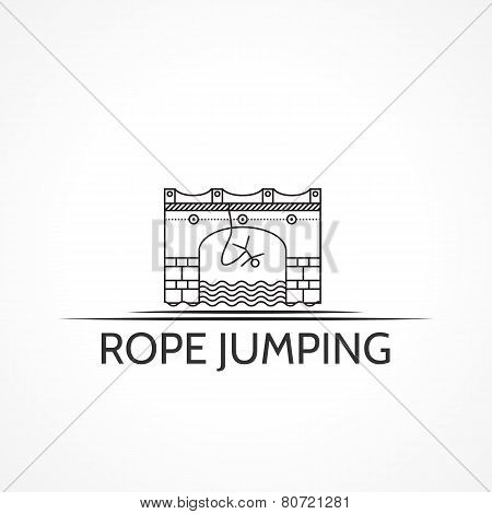 Vector illustration with black line icon and text for rope jumping.