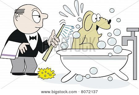 Dog bath cartoon