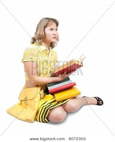 Female Student Reading Book Over White