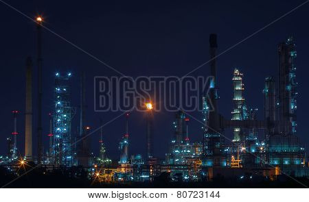 Beautiful Night Scene Landscape Of Oil And Gas Refinery Factory With Lighting Equipment In Heavy Pet
