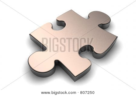 Metallic puzzle piece
