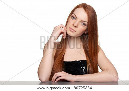 Portrait of sensual redheaded woman
