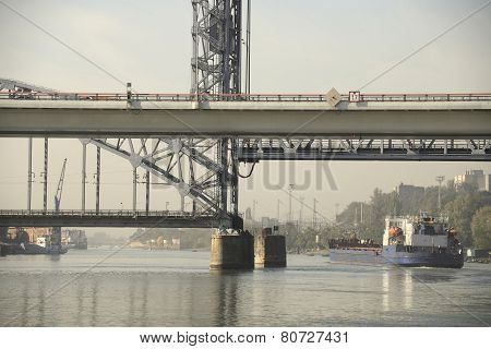 Passage Of The Ship Under The Drawbridge Morning In Rostov-on-don