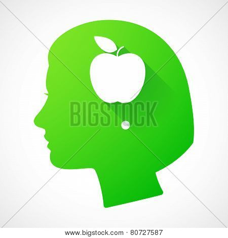 Female Head Silhouette Icon With An Apple