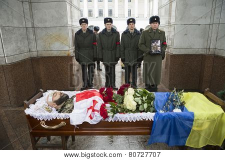 Soldier Killed In Clashes At Donetsk Airport Laid In Rest In Kiev