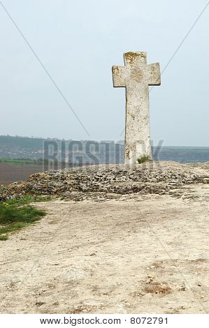 Old Stone Moldavian Orthodox Cross In Orhei,moldova