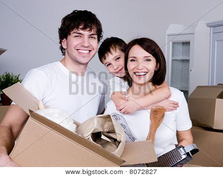 Happy Family Moving