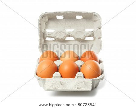 Container With Eggs On White