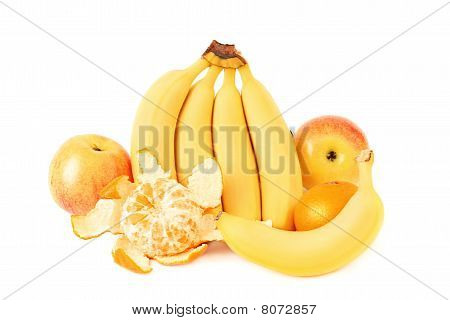 Banana, Apple And Orange Isolated On White