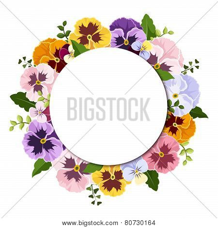 Background with colorful pansy flowers. Vector eps-10.