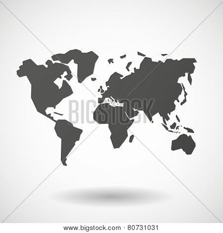 World Map  Icon On White Background