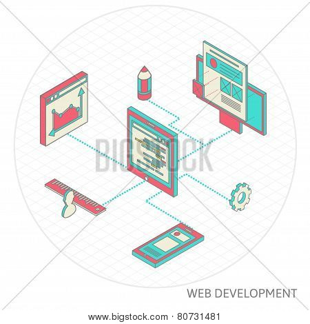 isometric illustration of website analytics