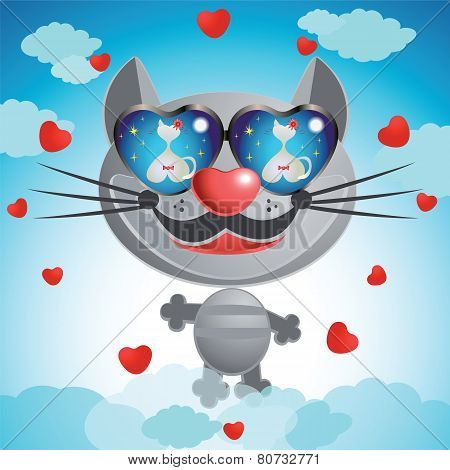 Smiling Muzzle Cat With Glasses.