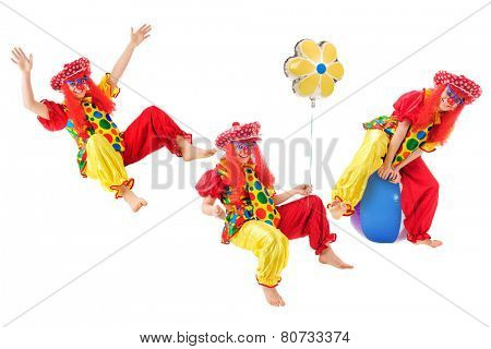 Three images of an active teen clown.  On a white background.