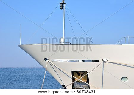 Bow of motor yacht