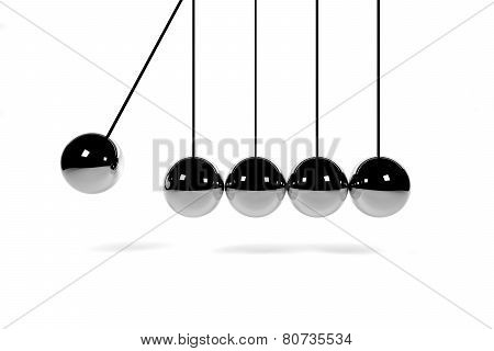 Newton's Cradle On White Surface 3D Render