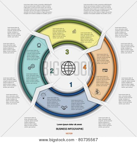 Business circular infographic for success project workflow web design advertising banner