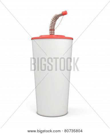 White Blank Plastic Cup With A Straw For Your Design