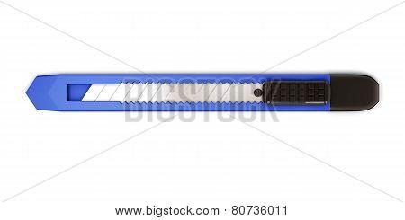 Blue Stationery Knife Isolated On White Background.