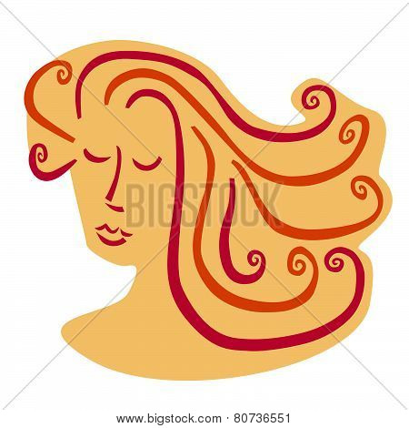 Woman with curly, side swept hair