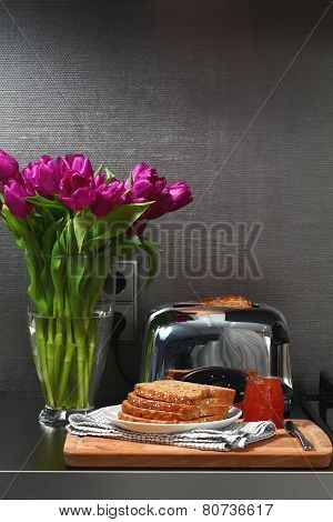 Toaster and bread with jam