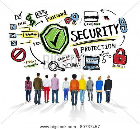 Ethnicity People Looking up Security Protection Firewall Concept