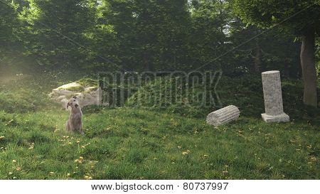 Dog In The Secret Garden.3D Rendering