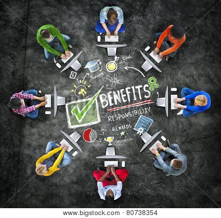 Benefits Gain Profit Income Earning Computer Technology Concept