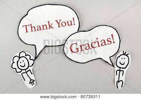 Thank You in English and Spanish as Conversation