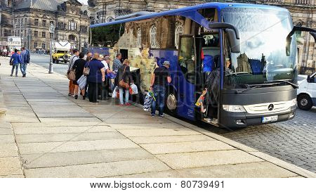 Tourists Leaving Dresden On Bus
